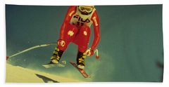 Bath Towel featuring the photograph Skiing In Crans Montana by Travel Pics