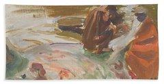 Skinning A Hippopotamus Hand Towel by Akseli Gallen-Kallela