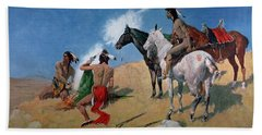 Smoke Signals Hand Towel by Frederic Remington