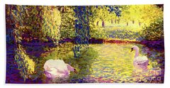 Swans, Soul Mates Hand Towel by Jane Small