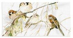 Sparrows Hand Towel by Suren Nersisyan