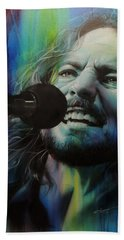Eddie Vedder - ' Spectrum Of Vedder ' Hand Towel by Christian Chapman Art