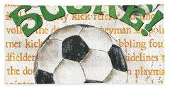 Sports Fan Soccer Hand Towel by Debbie DeWitt
