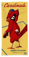 St. Louis Cardinals Vintage 1956 Program Hand Towel by Big 88 Artworks