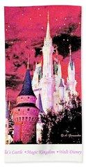 Bath Towel featuring the digital art Starry Night Cinderella's Castle Walt Disney World by A Gurmankin