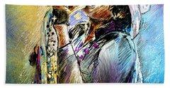 Steven Tyler 01  Aerosmith Hand Towel by Miki De Goodaboom