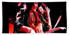 Steven Tyler And Joe Perry Hand Towel by Debbie Oppermann