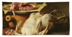 Still Life Of A Chicken And Cutlets Hand Towel by Guillaume Romain Fouace
