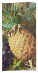 Still Life Of A Pineapple And Grapes  Hand Towel by Charles H Slater