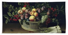 Still Life With A Basket Of Fruit And A Bunch Of Asparagus Hand Towel by Louise Moillon
