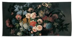 Still Life With Basket Of Flowers Hand Towel by Jean-Baptiste Monnoyer