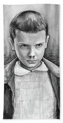 Stranger Things Fan Art Eleven Hand Towel by Olga Shvartsur