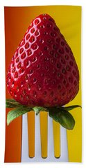 Strawberry On Fork Hand Towel by Garry Gay