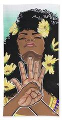 Sunflowers And Dashiki Hand Towel by Alisha Lewis