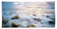 Sunrise On The Beach, Maldive Hand Towel by Katesalin Pagkaihang