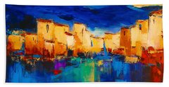 Sunset Over The Village Hand Towel by Elise Palmigiani
