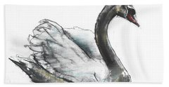 Swan Hand Towel by Mark Adlington