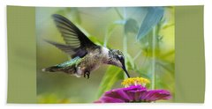 Sweet Success Hummingbird Square Hand Towel by Christina Rollo