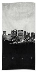 Sydney City Skyline With Opera House Hand Towel by World Art Prints And Designs