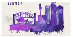 Sydney Skyline Watercolor Poster - Cityscape Painting Artwork Hand Towel by Beautify My Walls