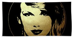 Taylor Swift In Gold Circle Hand Towel by Wagner Povoa