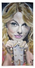 Taylor Swift Portrait Hand Towel by Zalika Ledeatte- Williams