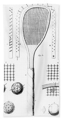 Tennis Racket And Balls Hand Towel by French School