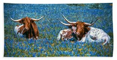Texas In Blue Hand Towel by Linda Unger