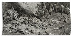 The Army Of The Second Crusade Find The Remains Of The Soldiers Of The First Crusade Hand Towel by Gustave Dore
