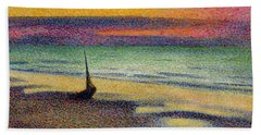 The Beach At Heist Hand Towel by Georges Lemmen