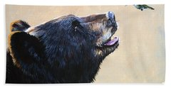 The Bear And The Hummingbird Hand Towel by J W Baker