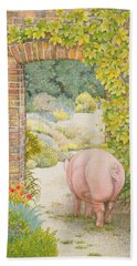 The Convent Garden Pig Hand Towel by Ditz