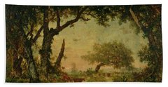 The Edge Of The Forest At Fontainebleau Hand Towel by Theodore Rousseau