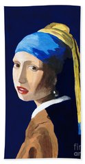 Bath Towel featuring the painting The Girl With A Pearl Earring After Vermeer by Rodney Campbell