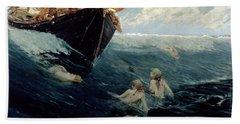 The Mermaid's Rock Hand Towel by Edward Matthew Hale