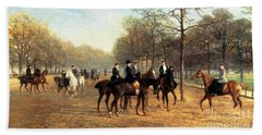 The Morning Ride Rotten Row Hyde Park Hand Towel by Heywood Hardy