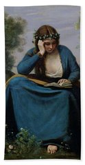 The Reader Crowned With Flowers Hand Towel by Jean Baptiste Camille Corot