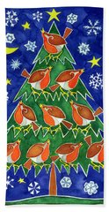 The Robins Chorus Hand Towel by Cathy Baxter