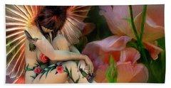 The Rose Fairy Hand Towel by Carol Cavalaris