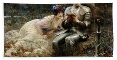 The Temptation Of Sir Percival Hand Towel by Arthur Hacker