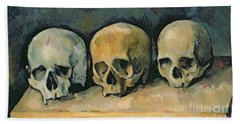 The Three Skulls Hand Towel by Paul Cezanne