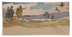 The Turkey Hunters Hand Towel by Newell Convers Wyeth