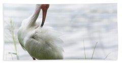 The White Ibis  Hand Towel by Saija  Lehtonen