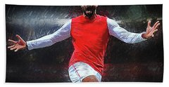 Thierry Henry Hand Towel by Semih Yurdabak