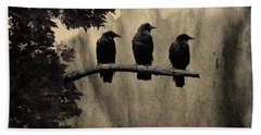 Three Ravens Hand Towel by Gothicolors Donna