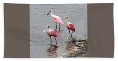 Three Roseate Spoonbills Square Hand Towel by Carol Groenen