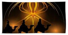 Three Wise Men Christmas Card Hand Towel by Bellesouth Studio