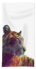Tiger // Solace - White Background Hand Towel by Amy Hamilton