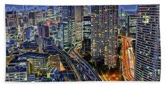 Tokyo Japan Skyline Hand Towel by Marvin Blaine