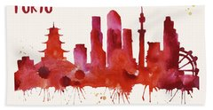 Tokyo Skyline Watercolor Poster - Cityscape Painting Artwork Hand Towel by Beautify My Walls